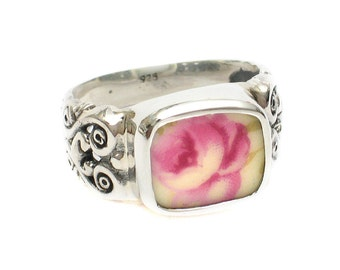 Size 9 Broken China Jewelry Pink Rose Roses AA Sterling Ring