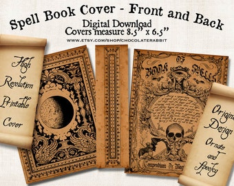 Witch Spell Book Cover Halloween Digital Download Printable Vintage Image Clip Art Scrapbook Collage Sheet