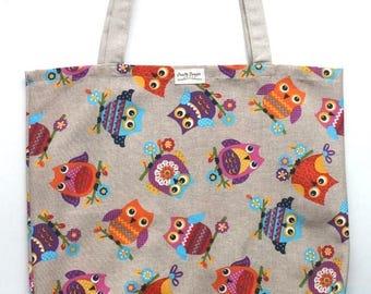 Tote Bag, Canvas Bag, Shoppers Reusable, Grocery Bag, Eco Friendly, Market Bag, Work Bag, Art Bag, Owl Bag, Owl Tote Bag, Owls gift
