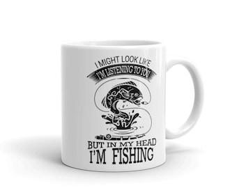 FISHING: in my head I'm fishing Coffee Mug, dad, dad present, coffee mug, fishing, fishing mug, coffee drinker, coffee mug,