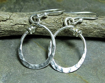 Sterling silver oval hoop dangle earrings - City Lights Ovals