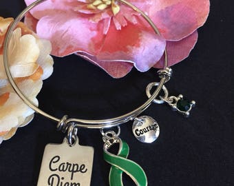 Carpe Diem Green Ribbon Charm Bracelet / Kidney, Adrenal Cancer, BiPolar Disorder, Cerebral Palsy, Gastroparesis, Mental Health Awareness