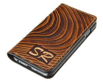 iPhone X Leather Case, iPhone 8, 8plus, 7, 7plus Leather Case, Wood Design iPhone Leather Wallet Case, Personalized Gift