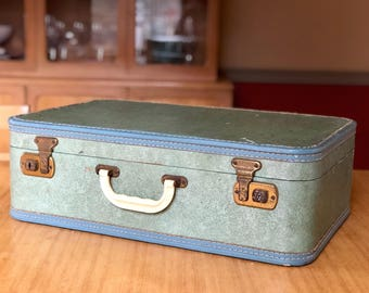Vintage Blue Green Suitcase, Old Suitcase, Vintage Travel, Vintage Luggage, Antique Suitcase, Movie Props
