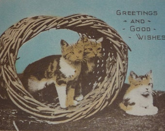 Cats in a Basket Antique Christmas Greeting Card Booklet UNUSED