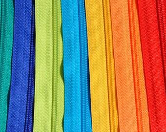 14 inch Handbag Zippers 10 PIECES- YKK-Hottest Colors - Long Pull Handbag Zipper - YKK Number 4.5  Closed Bottom- 10 Handbag Zippers