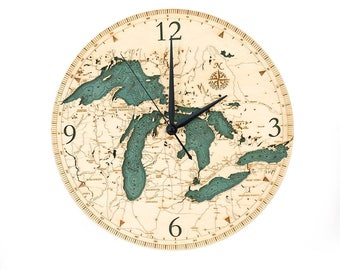 Great Lakes Wood Carved Clock