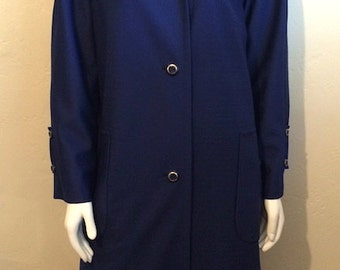 Vintage Women's 60's Coat, Blue, Fully Lined, Winter Jacket by Weather Charmer (L)