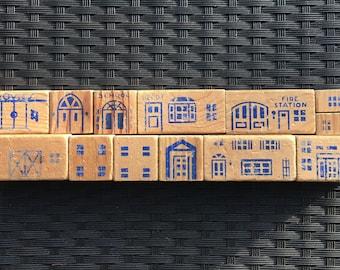 Vintage Hogate Toys Wooden Building Blocks - 13 pieces