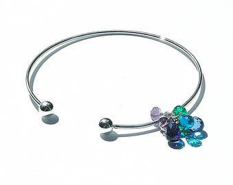 "Sterling Silver ""Blueberries"" Cuff Bangle / Quartz Charm Bracelet / Blue / Emerald Green / Purple / Wire Wrapped / Gifts for Her / OOAK"