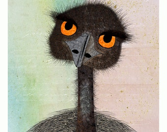 Emu ART PRINT Australian Bird Series