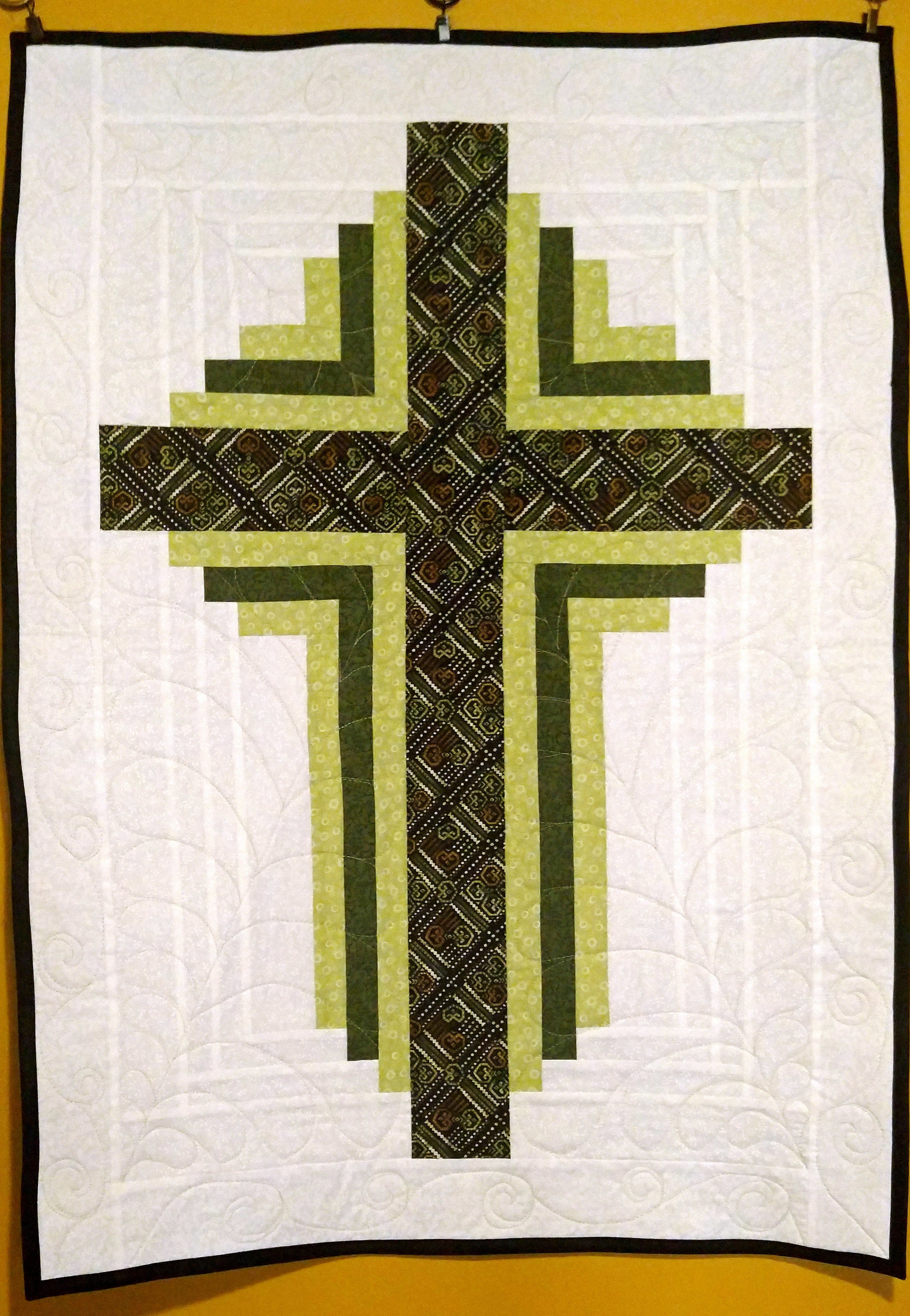 quilted cross banner, religious quilt, prayer quilt, cross wall ...