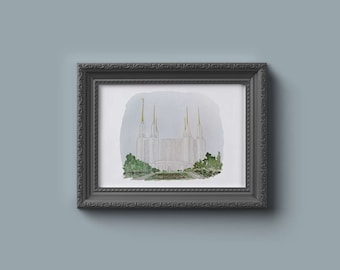 Washington DC LDS Temple Watercolor Print