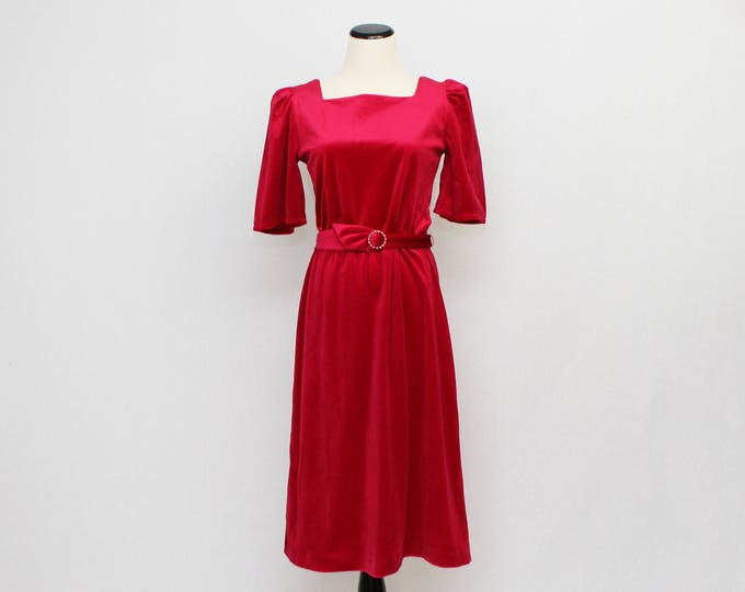 Vintage 1970s Fuchsia Velveteen Cocktail Dress - Size Medium