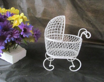 Vintage Mini Wire Baby Carriage - Great for Baby Shower Favors