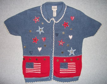 Stars and Stripes American Flag USA 4th of July Sweater w/ Shoulder Pads Tacky Gaudy Ugly Christmas Party X-Mas S Small M Medium