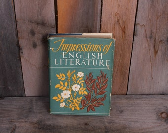 1947 Impressions of English Literature Illustrated Paintings Art Survey Book with Dust Jacket