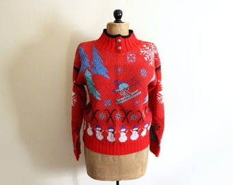 vintage sweater 80s red snowflake snowman skier novelty 1980swomens clothing size s m small medium