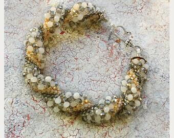 Elegant Glass Bead Bracelet Spiral Bracelet handmade Milky-golden shades