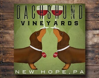 custom Double DACHSHUND Wiener Dog Wine Vineyards Cellars graphic art Stretched Canvas Wall Art SIGNED