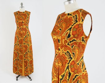 Vintage 60s Gold Evening Gown - Sleeveless Long Orange SILK Asian Oriental Dress - PsychedelicSpecial Occasion Formal Dress - Size Large L