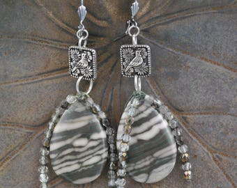 Zebra Agate Pendant Drop Artisan Earrings