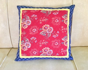 Cottage Decor Decorative Pillow Cottage Pillow, Quilted Pillow, Mixed Fabric. Bright, Cheery