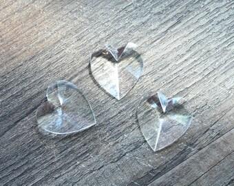 Vintage 1970s Transparent Heart Shape Pendants // Faceted Jelly Love