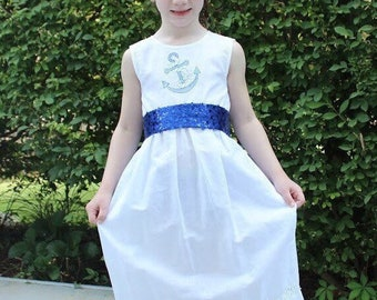 Girls White Linen Dress with sequin sash.