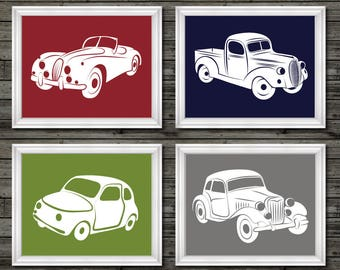 Vintage cars and trucks, nursery decor, boys nursery wall art, red, blue, green, gray, boys nursery decor, car nursery, vintage nursery art