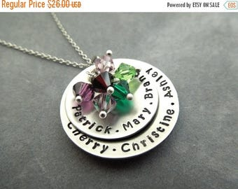 Holiday Sale name necklace, mothers necklace, 6-7 names, birthstone necklace, grandma gift,