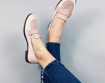 Gaia - bi-material - pink leather moccasins