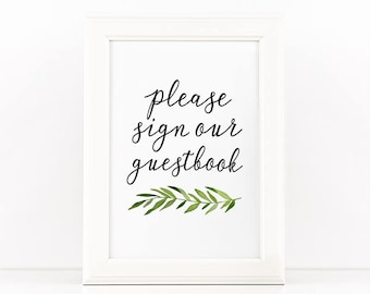 Printable guestbook sign, Green leaves, Wedding sign printable party sign, Wedding print, Guest book sign, Wedding decor, Please sign print