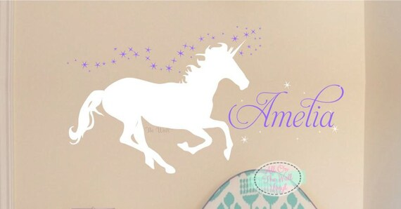 Captivating Unicorn Wall Decal Girl Name Wall Decal Girls Bedroom Decor