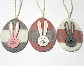 Easter Ornaments, Mixed Media Bunny Decor, Felt Easter Eggs, Wooden Rabbit, Pastel Decorations, Hand Sewn