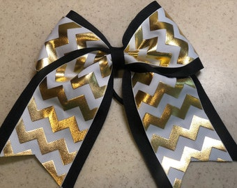 White and Gold Chevron Bow