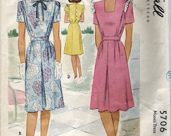 """Vintage 1944 McCall 5706 WWII Dress Four Styles Wartime Sewing Pattern Size 14 Bust 32"""""""