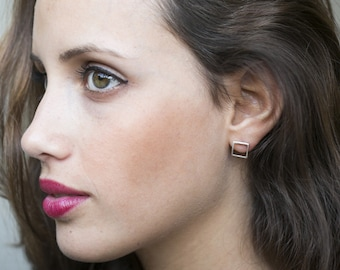 Minimalist Silver earrings studs, Silver Stud Earrings, Geometric Earrings Silver, square stud earrings sterling silver open square earrings