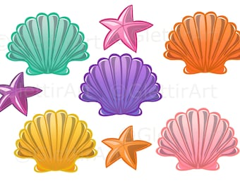 Seashell clipart, Sea Shell clipart for personal and commercial use, digital clipart,  planner stickers, scrapbooking