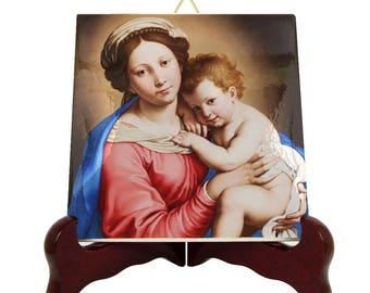 Religious art - Virgin and Child icon - religious icon on ceramic tile - Madonna and Child - Sassoferrato - christian gift idea - devotional