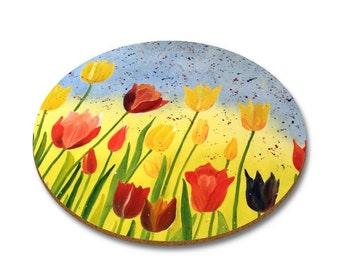 Set of 6 Tulips garden coasters
