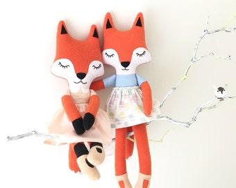 Sleepy fox rag doll / cloth doll - Free shipping within the UK