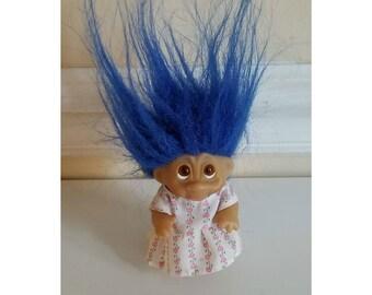 Vintage Dam Norfin Troll, Blue Hair Troll, Dam Troll, Norfin Troll, Rubber Troll, Troll Doll, Circus Troll, Vintage Toys, 1980s