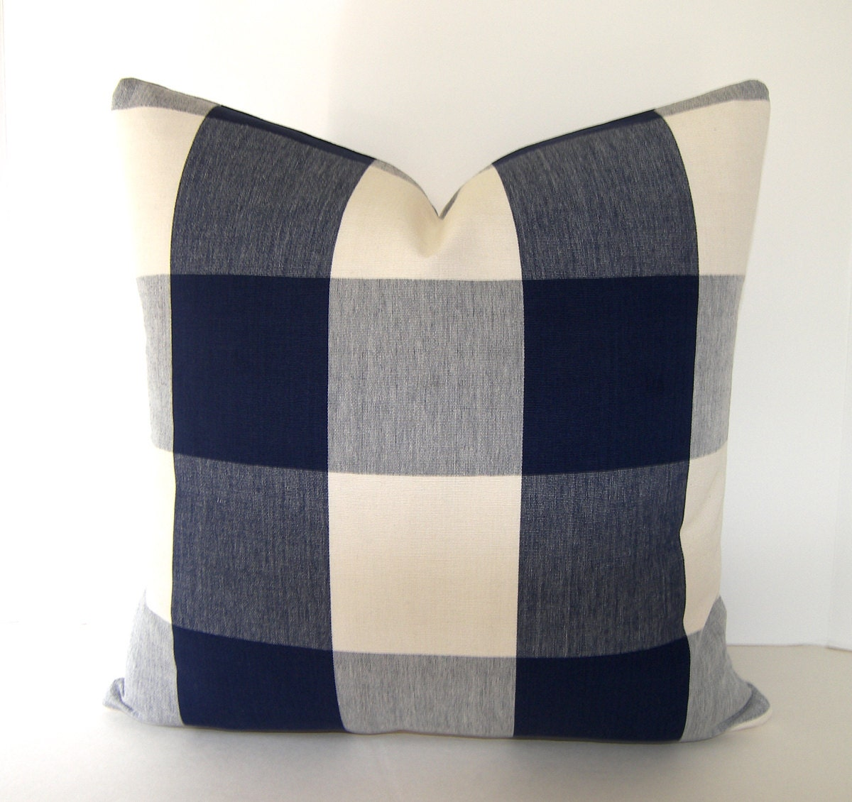 BOTH SIDES / Navy Blue / Ivory Buffalo Check Pillow / Plaid
