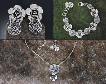Sterling Silver Jewelry Set - Beaded Spiral and Double Dogwood Jewelry - Dogwood Earrings - Floral Bracelet - Spiral Jewelry -Sherry Tinsman