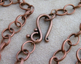 """Antiqued Copper Chain Large Oval Links 30"""" Necklace Blank Whimsical Clasp"""