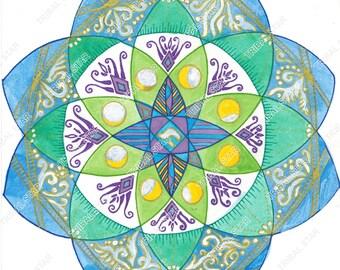 moon cycle, water colour print, mandala, Hanukkah gift, christmas gift, Judaica art, spiritual gift, spiritual art, blue flower, hebrew