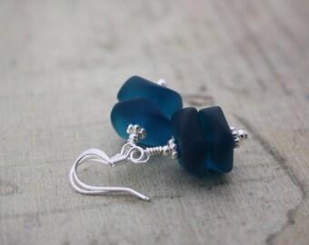 Teal Sea Glass Earrings, Seaglass Earrings, Beach Glass Earrings, Sea Glass Jewelry, Seaglass Jewelry Ocean Jewelry, Beach Wedding, Blue 090