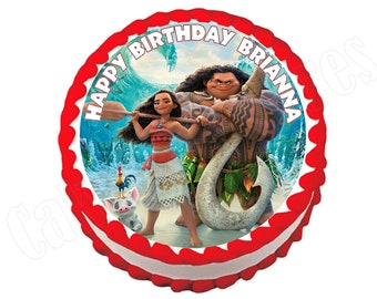 Moana round party decoration edible cake image cake topper frosting sheet