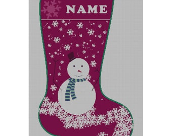 Needlepoint Christmas Stocking Snowman Personalized Canvas
